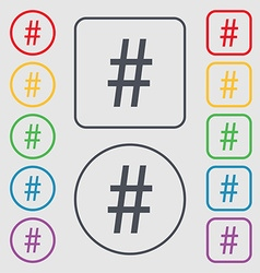 Hash tag icon symbols on the round and square vector