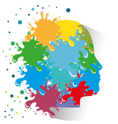 Head and paint splatter icon vector