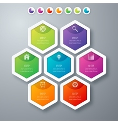 Infographics seven hexagons vector