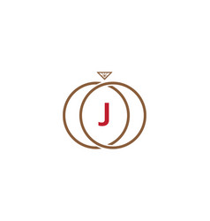 j letter ring diamond logo vector image