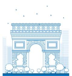 Outline arch of triumph in paris vector