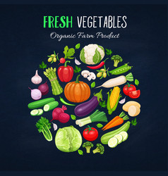 Poster round composition with colorful vegetables vector