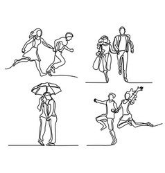 Set continuous happy running couple vector