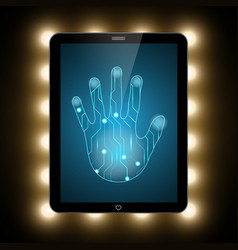 Technology security circuit hand palm tablet vector