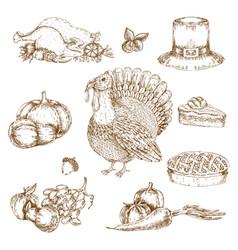 Thanksgiving day elements monochrome set vector