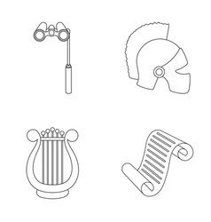 Theatrical binoculars a helmet a harp and a vector