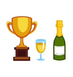 trophy champion cup and champagne bottle vector image vector image
