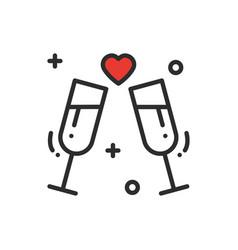 Two glasses romantic toast line icon wedding vector