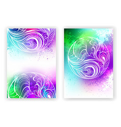 Watercolor design with abstract feather vector