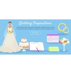 Wedding preparations web banner vector