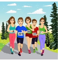 young runners running a marathon competition vector image