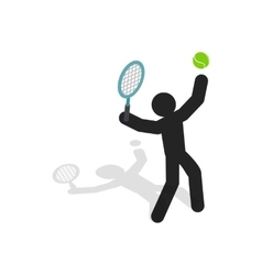 Tennis player icon isometric 3d style vector