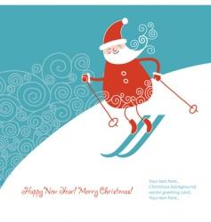 Santa alpine skis vector image