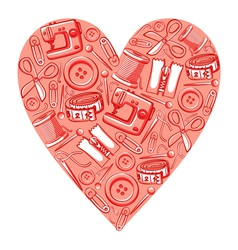 Sewing heart vector