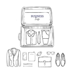 Business trip outfit sketch set vector