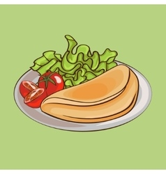 French omelettes on plate composition vector