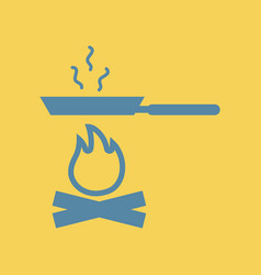 Flat icon pan with fire vector