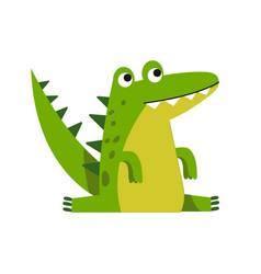 funny cartoon crocodile character sitting vector image