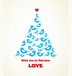 Christmas wishes blue bird tree with heart on a vector