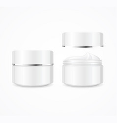 Realistic cream can cosmetic product open and vector