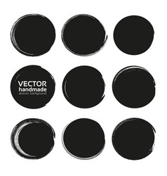 Black circles set from black textured paint smears vector