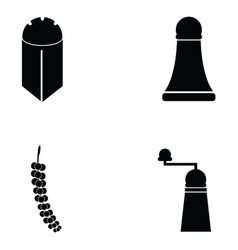black pepper icon set vector image