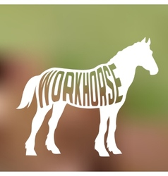 Concept of horse silhouette with text inside on vector image