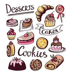 Baked sweet food icons cake cookie donut labels vector