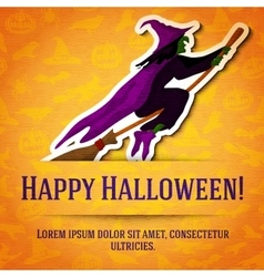 Happy halloween greeting card with witch on broom vector