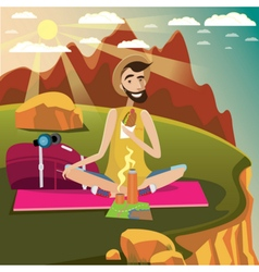 Backpacker rests on a grassland in the mountains vector