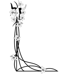 Bull skull and lilies vector