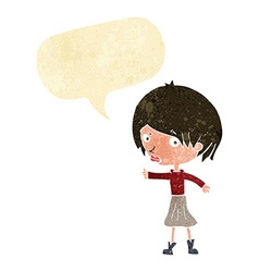 Cartoon woman raising eyebrow with speech bubble vector