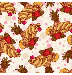 Seamless pattern with tropical fruit vector