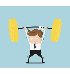 Business concept businessman lifting heavy weight vector