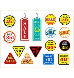 Set of retro promotion discount sale label vector