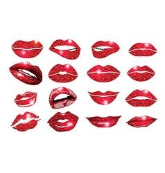 Collage lips lips red set design glitter element vector