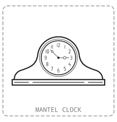 Mantel clock linear icon object isolated on vector