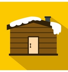 Winter house icon flat style vector