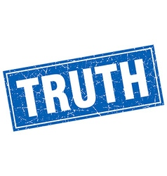 Truth blue square grunge stamp on white vector