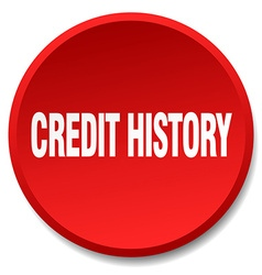 Credit history red round flat isolated push button vector
