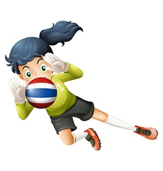 A female player using the ball with the flag of vector image