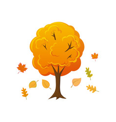 cartoon style autumn tree with leaves falling down vector image vector image