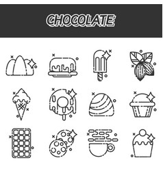 Chocolate cartoon concept icons vector