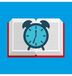 cute boy book open clock vector image vector image