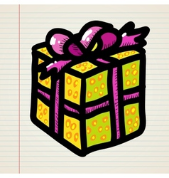 Doodle cartoon gift vector image vector image