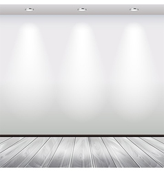 Empty interior with white wall and lights vector