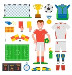 Flat design football soccer icons sport vector image