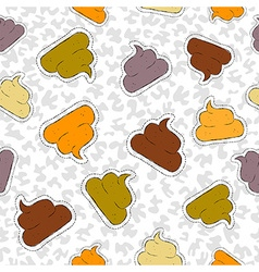 Funny poop hand drawn patch icon seamless pattern vector