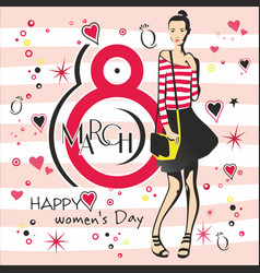 Greeting card with 8 march womens day 4 vector