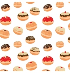 Hanukkah pattern with tasty dougnuts vector